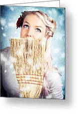 Pin-up Woman Cleaning Up In Cold Blue Winter Snow Greeting Card