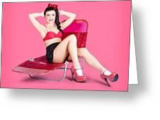 Pink Pin-up Model On Summer Vacation Greeting Card