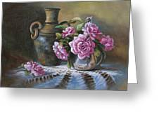 Pink Roses In Silver Greeting Card
