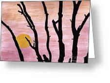 Pink - Sunrise Drawing Greeting Card