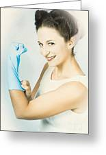 Pinup Housewife Flexing Muscles. Cleaning Strength Greeting Card