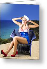 Pinup Woman On A Tropical Beach Travel Tour Greeting Card