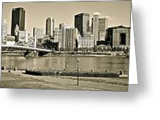 Pittsburgh In Sepia Greeting Card