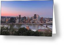 Pittsburgh Skyline At Sunset Greeting Card