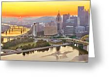 Pittsburgh Sunrise Panorama Greeting Card