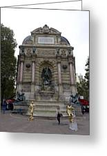 Place Saint-michel Statue And Fountain In Paris France Greeting Card