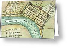 Plan Of New Orleans, 1798 Greeting Card