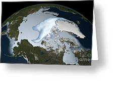 Planet Earth Showing Sea Ice Coverage Greeting Card
