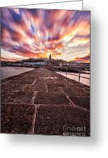 Porthleven Pier Greeting Card