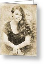 Portrait Of A Vintage Lady Greeting Card