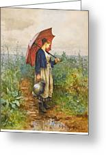 Portrait Of A Woman With Umbrella Gathering Water Greeting Card
