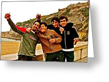 Portuguese Teens Wish A Happy New Year In Nazarre-portugal  Greeting Card