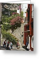Positano Street Scene Greeting Card