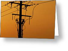 Power Line Sunset Greeting Card
