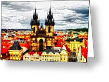 Prague Church Of Our Lady Before Tyn Greeting Card