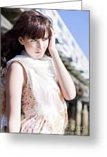 Pretty Young Fashion Model Greeting Card