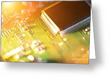 Processor Chip On Circuit Board Greeting Card