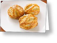 Puff With Chicken Mushrooms And Sesame Greeting Card