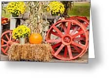 Pumpkins Next To An Old Farm Tractor Greeting Card