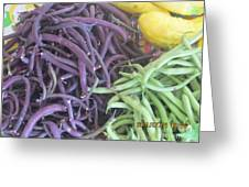 Purple And Green Beans Greeting Card