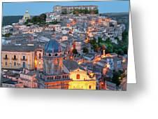 Ragusa At Dusk, Sicily, Italy Greeting Card