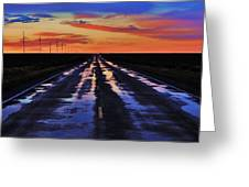 Rainy Highway Greeting Card by Benjamin Yeager