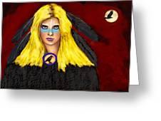 Raven Yellow Hair Greeting Card