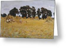Reapers Resting In A Wheat Field Greeting Card