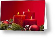 Red Advent Wreath With Candles Greeting Card