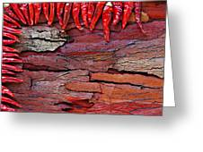 Red Chillies On Rustic Background Greeting Card