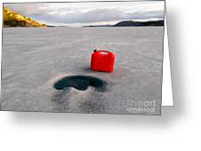Red Jerrycan Lost On Frozen Lake Laberge Yukon T Greeting Card