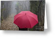 Red Umbrella In The Forest Greeting Card