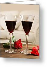 Red Wine And Roses Greeting Card