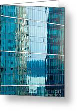 Reflections In Modern Glass-walled Building Facade Greeting Card