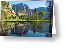 Reflections Of Yosemite Falls Greeting Card