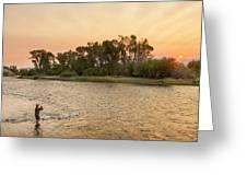 Reid Sabin Fly Fishing At Sunrise Greeting Card