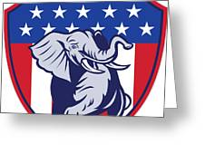 Republican Elephant Mascot Usa Flag Greeting Card by Aloysius Patrimonio