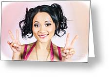 Retro Asian Girl Gesturing Peace Love And Hope Greeting Card