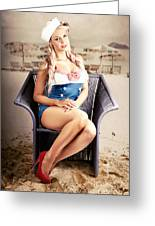 Retro Blond Beach Pinup Model With Elegant Look Greeting Card