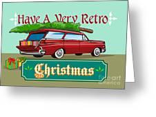 Retro Christmas Tree Station Wagon Greeting Card by Aloysius Patrimonio