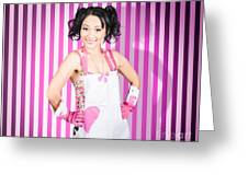 Retro Cleaning Service Maid With Smile Greeting Card