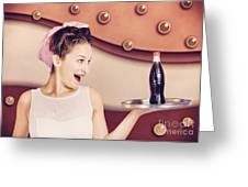 Retro Pinup Girl Holding Food And Drinks Tray Greeting Card