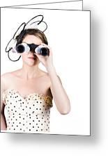 Retro Woman Looking Through Binoculars Greeting Card