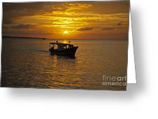 Returning To Port At Sunset Greeting Card