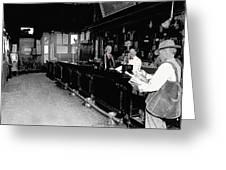Reverse Angle Interior Cabinet Saloon 68 W. Congress Tucson Arizona 1910 Greeting Card