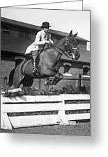 Rider Jumps At Horse Show Greeting Card
