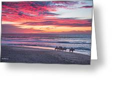 Riding In The Sunset Greeting Card