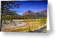 River And Mountains In Jasper Greeting Card