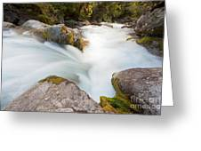 River Rapids Washing Over Rocks With Silky Look Greeting Card