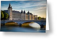 River Seine And Conciergerie Greeting Card